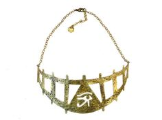 Eye of Horus Gate Platehammered antiqued by RawElementsJewelry, $96.00 #eyeofhorus  #eyeofhoruspendant #eyeofhorusnecklace #sacredjewelry #egyptianjewelry #egyptianeyeofhorus #egyptian #sacred #spiritual #eyeofhorusnecklacebrass