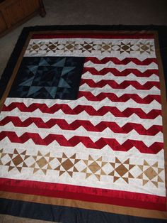 Quilt of Valor | I would make the tan stars white on a blue background and change the border accordingly.