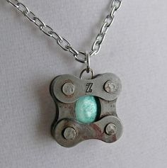 bicycle chain and green shell bike jewelry