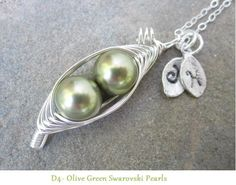 Two Sweet Peas in a Pod Necklace 2 3 or 4 peas by ALovellyDesign For My daughter who is the wonderful Mother of 1 year old twin girls.