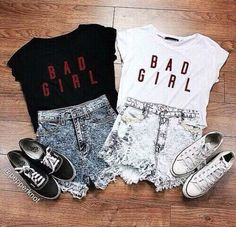 bad girl, best friend, bestie, black and white, clothes, clothing, concert, converse, denim, love, matching, outfit, shoes, sister, spring, summer, top, twins, vans