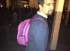 I actually introduced Alex's college backpack before I saw this picture. But. Alex with a backpack.