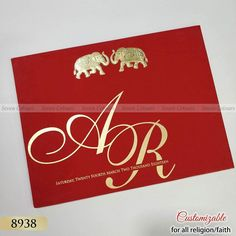 Gold ink print and gold foiled and embossed. Muslim Wedding Cards, Indian Wedding Cards, Gujarati Wedding, Tamil Wedding, Invitation Envelopes, Invitation Cards, Wedding Invitations, Elephant Theme, Walima