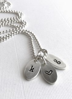 Hand Stamped Initial Necklace, Sterling Silver Personalized Charms, Couples Necklace