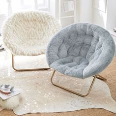 Hang-A-Round Chair, Winter Fox Faux-Fur w/ Gold Base at Pottery Barn Teen - Lounge & Gaming Chairs - Teen & Kids Bedroom Furniture - Stühle Bedroom Chair, Room Ideas Bedroom, Bedroom Decor, Bedroom Lounge Chairs, Chairs For Bedroom Teen, Office Chairs, Teen Lounge, Round Chair, Girl Bedroom Designs