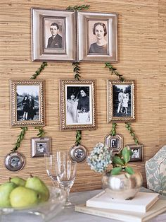 Framed Family Tree - I love the natural elegance & significance of this wall photo arrangement! This could be done on a portable board too, like for anniversaries, milestone birthdays, life celebrations/memorials, etc.