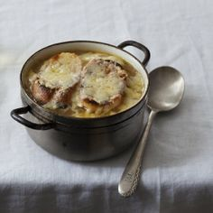 A classic French Onion Soup enhanced with the unctuous richness of roasted bone marrow from chef Rachel Graville.