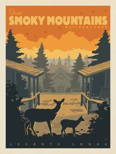 American National Parks, National Parks Map, Parc National, Wpa National Park Posters, Gig Poster, Voyage Usa, Nostalgic Art, Smoky Mountain National Park, Vintage Travel Posters
