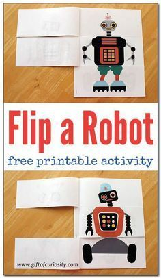 FREE Flip a Robot printable activity book. Kids can mix and match robot heads, bodies and legs. Printable includes six full color mix and match robots, six black line mix and match robots, and blank templates for kids to create their own mix and match rob Preschool Activities, Activities For Kids, Flip Book Template, The Wild Robot, Maker Fun Factory Vbs, Robot Theme, Robots For Kids, Book Gifts, In Kindergarten