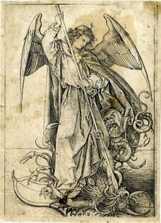St Michael slaying the dragon; winged whole-length figure, standing on the dragon as he drives the spear through the monster's mouth; another impression, stained. Engraving  Print made by Martin Schongauer, 1469-1474