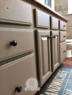 Fusion Mineral Paint in Algonquin Kitchen Cupboard Colours, Grey Kitchen Cabinets, Kitchen Paint, New Kitchen, Kitchen Cabinet Inspiration, Bathroom Inspiration, Kitchen Ideas, Painting Bathroom Cabinets, Painted Cupboards
