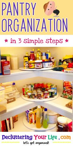 Organizing your kitchen? Don't forget to get your pantry organized too! Get tips and tricks from Decluttering Your Life blog - let's get organized! / Pantry Organization / * in 3 simple steps * Pantry Organisation, Clutter Organization, Kitchen Organization, Organized Pantry, Organization Ideas, Pantry Ideas, Clean Machine, Home Management, Kitchen Layout