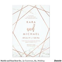 Marble and Faux Rose Gold Geometric Wedding Invite These contemporary wedding invitations feature a white marble look background and faux rose gold geometric lines for an edgy, modern look. #invitations #weddings