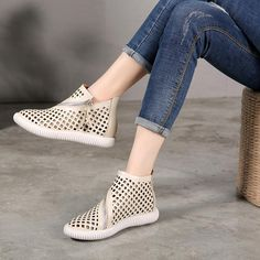 heeled shoes - Babakud Hollow Leather Flat Casual Summer Boots - Apocalypse Now And Then Womens Shoes Wedges, Womens Flats, Teenager Outfits, Shoes 2018, Dior Shoes, Chanel, Foto Instagram, Fall Shoes, Ladies Slips