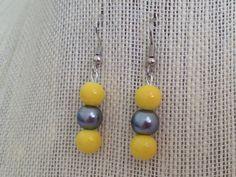Yellow and Gray Earrings Pearl Earrings by CherishedJewelryCo, $12.00