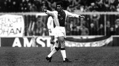 Johan Cruijff tijdens zijn rentree bij Ajax in 1981.