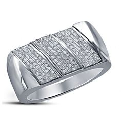 Attractive Men's Band Ring White Round Simulated Diamond 14K Gold Finish Silver #beijojewels #MensEngagementBandRing