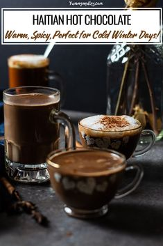Enjoy your next snow in with this Caribbean comfort drink! Not only is Haitian hot chocolate rich and creamy, all the added warming spices lend that extra touch of heat that really warms you up inside making it perfect for cold winter days! via @yummymedley Hot Chocolate Recipes, Chocolate Desserts, Haitian Hot Chocolate Recipe, Fancy Drinks, Yummy Drinks, Refreshing Drinks, Non Alcoholic Drinks, Beverages, Cocktails
