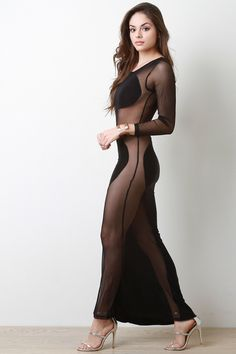 Semi-Sheer One Sleeve Cocktail Dress Cute Girl Dresses, Sexy Dresses, Dresses With Sleeves, Fashion Models, Girl Fashion, Transparent Clothes, Most Beautiful Indian Actress, Beautiful Girl Image, Sweet Dress