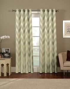 Ikat Chevron Grommet Curtain Panel - not sure how I have never heard of this website before but they have the BEST prices on curtains! de Munck Murphy check this out! Grey Chevron Curtains, Cute Curtains, Grommet Curtains, Curtain Panels, Patterned Curtains, Bedroom Drapes, Double Curtains, Gray Chevron