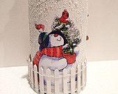 Items similar to Upcycled Decoupaged Bottle, Christmas  Decoration. on Etsy