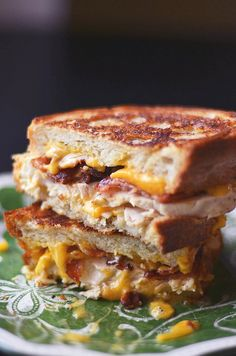Chicken Bacon Ranch Grilled Cheese.Hmmmmmmmm I would have to switch the bacon to turkey bacon but this would work for something I can eat!!!!!