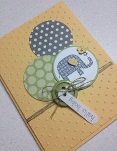 baby card using So Saffron, Pear Pizazz, Basic Gray in circles. Patterned Occasions.