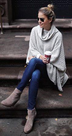 White Poncho + Navy Skinny Jeans