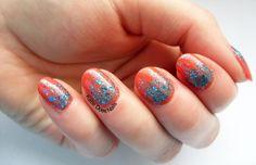 Orange polish, blue glitter gradient