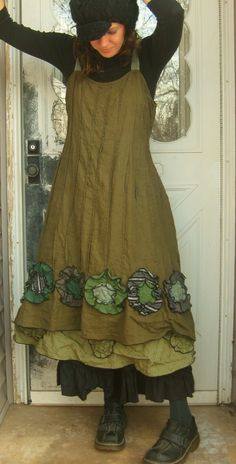 Green Linen Flower Bottom Dress M. $145.00, via Etsy.