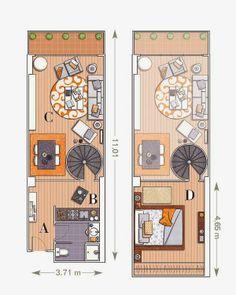 Apartamento decorado de 58 metros quadrados | móveis e Decoração de interiores