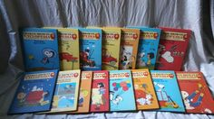 This is the complete set of all 19 books from the Charlie Brown Cyclopedia. The first three books have sticker with a name written in the other 12 books do not have this writing. The books also have spot stains on the inside and outside of book from storage and moisture. | eBay!