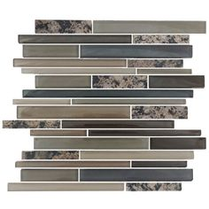 EPOCH Architectural Surfaces Granite and Glass Multicolor Beige Linear Mosaic Stone and Glass Granite Wall Tile (Common: 12-in x 14-in; Actual: 11.65-in x 11.75-in)