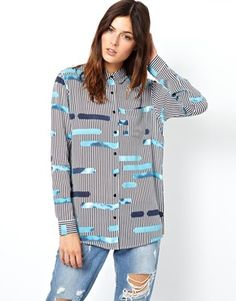 Image 1 ofASOS Shirt in Layered Cutabout Stripe Print