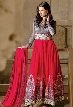Pink Georgete #Long #Anarkali #Salwar #Kameez #nikvik  #usa #designer #australia #canada #freeshipping #eid