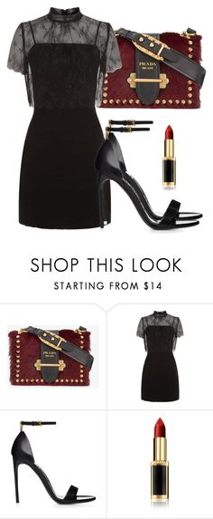"""Untitled #4955"" by beatrizvilar on Polyvore featuring Prada, Sandro and L'Oréal Paris"
