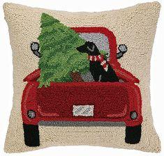 Back Of The Truck Black Labrador Christmas Tree Pillow