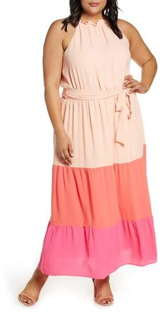 Plus Size Pink Maxi Dress | CeCe Colorblock Ruffle Georgette Maxi Dress