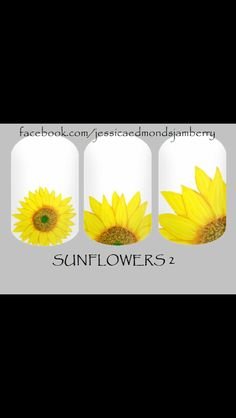 Jamberry nail wraps custom designed (and painted) by me. Super easy to apply- follow link to my Facebook page to request your free sample. Sunflowers designed by Jessica Edmonds