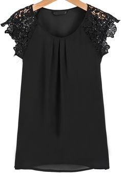 Black Round Neck Floral Crochet Chiffon Blouse - Sheinside.com