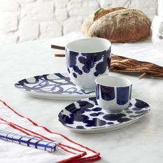 Como Cups and Saucers  | Crate and Barrel Love this for coffee or tea and a little dessert!