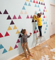 ZNAK's new Mosaic wall decals designed by Martins Ratniks are smarter than plain old wall decals. Consisting of consists of different colorful self-adhesive pieces of wallpaper and a stencil, you can arrange them into tons of different configurations to m Mosaic Wallpaper, Of Wallpaper, Beautiful Wallpaper, Wallpaper Ideas, Triangle Wall, Triangle Pattern, Old Wall, Geometric Wall, Geometric Patterns