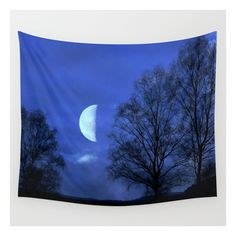 Moon Between Trees  - Justart © Wall Tapestry ($39) ❤ liked on Polyvore featuring home, home decor, wall art, wall tapestries, landscape wall art, outdoor wall art, outdoor trees, outside home decor and interior wall decor