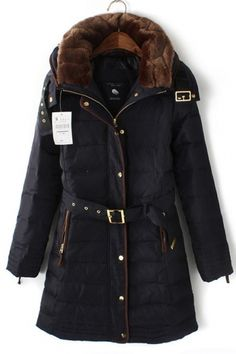 Warm and COZY!!! Classic Down Jacket with Faux Fur Collar and Gold Accents #winter #fashion