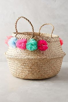 02c7301083752e Eliza Gran Pom Pom Seagrass Basket Pom Pom Crafts, Little Girl Rooms,  Textiles,