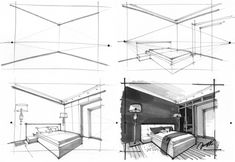What& perspective when drawing? Perspective basics for interior designers: What& perspective when drawing? Perspective basics for interior designers What Is Perspective, 2 Point Perspective Drawing, Types Of Perspective, Perspective Room, Interior Architecture Drawing, Interior Design Renderings, Drawing Interior, Interior Sketch, Architecture Concept Drawings