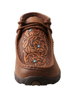 3c029856f7f Twisted X Womens Leather Laceup D Toe Driving Moccasins Brown Tooled  Flowers     Click image for more details. (This is an affiliate link)