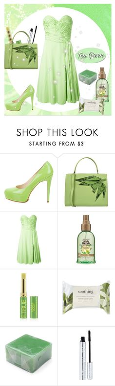 """""""Tea Green"""" by greensparkle1 ❤ liked on Polyvore featuring Brian Atwood, Carlo Pazolini, Ermanno Scervino, Tata Harper, Forever 21 and 100% Pure"""