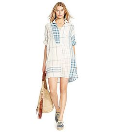 Polo Ralph Lauren Linen Patchwork Tunic Dress #Dillards