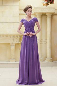 Delicated Pleats Sheath V-Neckline Floor-Length Ela's Mother of the Bride Dress